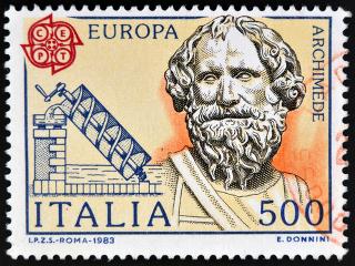 Selo de Arquimedes e uma de suas invensões impresso na Itália, em 1983*