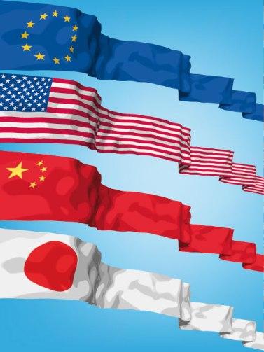 As bandeiras, respectivamente, da União Europeia, dos Estados Unidos, da China e do Japão, principais atores da Nova Ordem Mundial