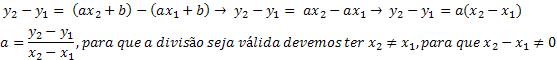 Expressão obtida após a subtração das duas equações.