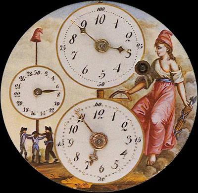 Exemplar de relógio com a marcação do tempo instituída pelo Calendário da Revolução Francesa.*