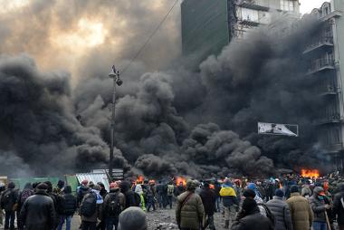 Protesto antigoverno na cidade de Kiev, em 23 de Janeiro de 2014.¹