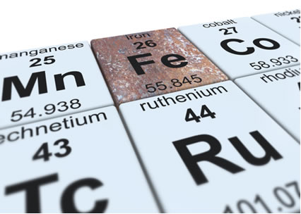 Símbolo e posição do elemento ferro na Tabela Periódica