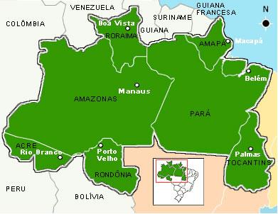 Estados e capitais da Região Norte do Brasil