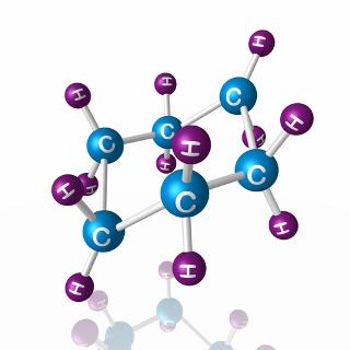 """Conformação do tipo """"cadeira"""" do ciclo-hexano é a sua forma mais estável, com ângulos de 109º28' entre as ligações dos carbonos"""