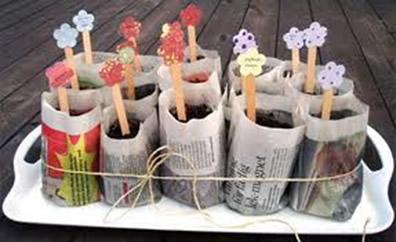 Os vasinhos também poderão ser feitos com jornal, como os da imagem acima
