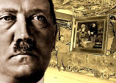 """Ao fundo, as tropas aliadas encontram mais umas das obras que comporiam o """"Führermuseum""""."""