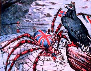 Ilustração do interesse econômico britânico e francês por regiões de exploração imperialista.