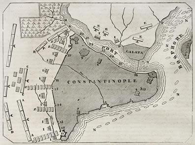 Plano antigo da cidade de Constantinopla. Cidade conheceu em 532 uma ampla revolta contra o imperador Justiniano