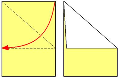 Folha de papel dobrada formando um ângulo de 45º