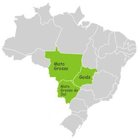 Estados que compõem a Região Centro-Oeste do Brasil