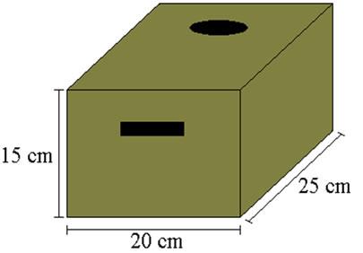 Caixa de papelão pequena com dimensões parecidas com uma caixa de leite longa vida