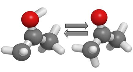 Na figura acima, temos um exemplo de tautomeria cetonenólica entre o isoprenol e a propanona