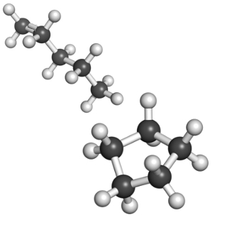 Ilustração de moléculas em que ocorre isomeria de cadeia (uma possui cadeia aberta e a outra, cadeia fechada)