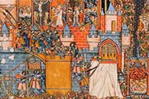 Ilustração representando a invasão à cidade de Jerusalém