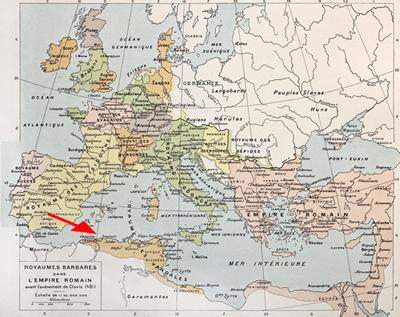 No mapa acima, é possível perceber a demarcação do reino dos Vândalos no Norte da África.