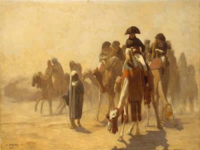 Napoleão e seus generais durante a campanha militar no Egito, em obra de Jean-León Géróme (1824-1904).