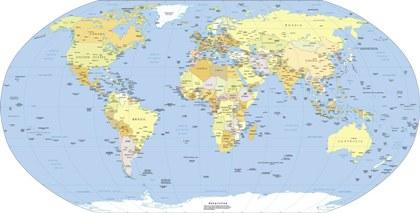 Mapa-múndi representado na projeção de Robinson