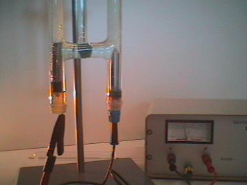 Equipamento usado em eletrólise da água