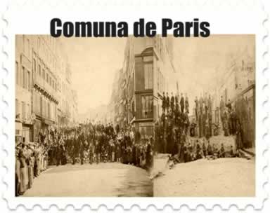 À direita, revolucionários em uma rua de Paris; à esquerda, população parisiense construindo barricada