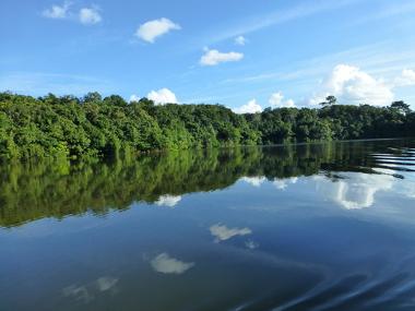 Área do Rio Amazonas, principal curso d'água do país, mas se encontra na região menos habitada