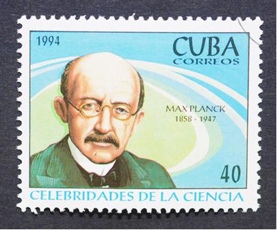 Um selo de Max Planck, impresso em Cuba, em 1994, homenageando-o como uma celebridade da Ciência[1]