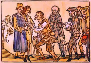 Iluminura medieval em que servos oferecem peças de um animal ao senhor feudal.