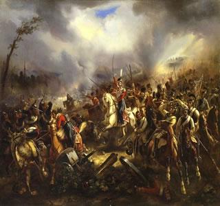 Ataque da guarda cossaca em Leipzig, em quadro de Carl Rechlin (1802–1875)
