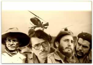 Os guerrilheiros nicaraguenses, Augusto Sandino e Daniel Ortega e os guerrilheiros da Revolução Cubana, Fidel Castro e Ernesto Che Guevara