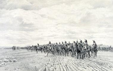 Acima, Napoleão à frente de seu exército na célebre Batalha de Austerlitz