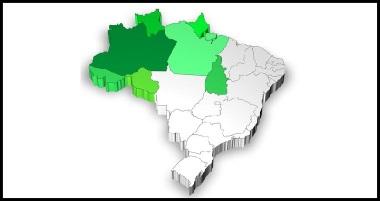 Mapa de localização da Região Norte do Brasil