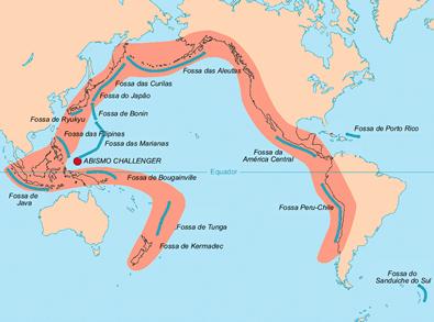 Mapa de localização do Anel de Fogo do Pacífico