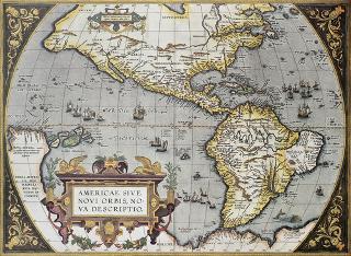 Antigo mapa da América, de 1570, criado por Abraham Ortelius