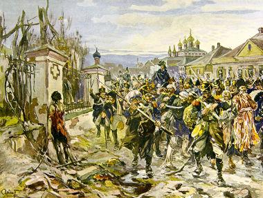 Acima, exército napoleônico na Rússia