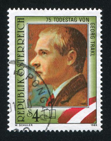 Selo com imagem do poeta austríaco e combatente da Primeira Guerra, Georg Trakl *