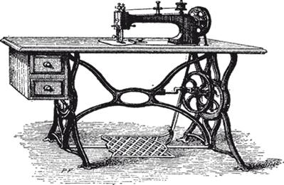Ilustração de uma máquina de costura do século XIX