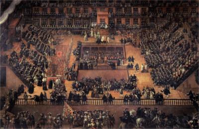 Tela do artista plástico Francisco Ricci intitulada Auto de fé (1683), cerimônia em que a sentença era anunciada às vítimas