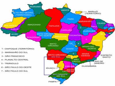 Mapa do Brasil em que pode ser vista a localização do Território Iguaçu