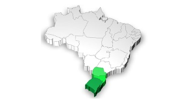 Mapa de localização da região Sul do Brasil