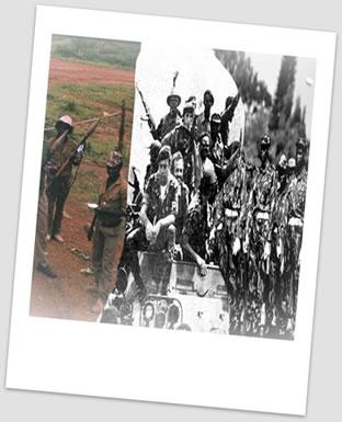 Independência das colônias portuguesas africanas: Angola, Guiné-Bissau e Moçambique.