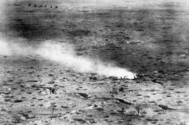 Visão aérea do Front de Batalha em Somme (França), 1916