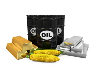 """Alguns exemplos de commodities: petróleo (""""oil"""" em inglês), milho, ouro e prata"""