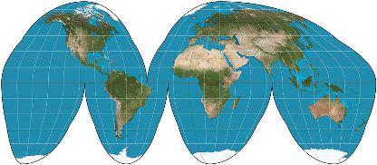 Mapa-múndi na Projeção Descontínua de Goode *