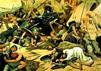 Quadro representando uma batalha da Guerra Gótica.