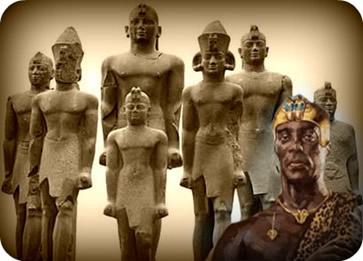 Os faraós negros de origem Núbia foram os responsáveis pela reunificação do Egito no século VIII a. C