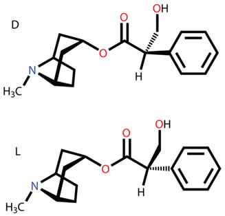 Esteroisômeros da atropina D (dextrogiro) e L (levógiro)
