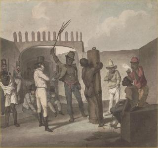 Obra de Augustus Earle (1793-1838), Punição aos negros no calabouço. A diminuição dos maus-tratos era uma reivindicação dos escravos