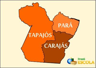 Mapa da divisão do estado do Pará conforme a proposta votada em plebiscito