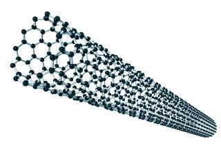 O nanotubo parece uma folha de papel enrolada, mas é feito de átomos de carbono