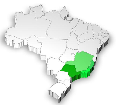 Em destaque no mapa a Região Sudeste, que consiste na região mais industrializada do Brasil.