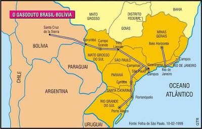 O trajeto do duto no Brasil e na Bolívia